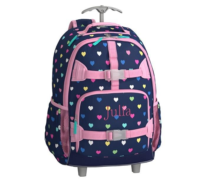 Mackenzie Navy Pink Multi Hearts Backpack with Wheels