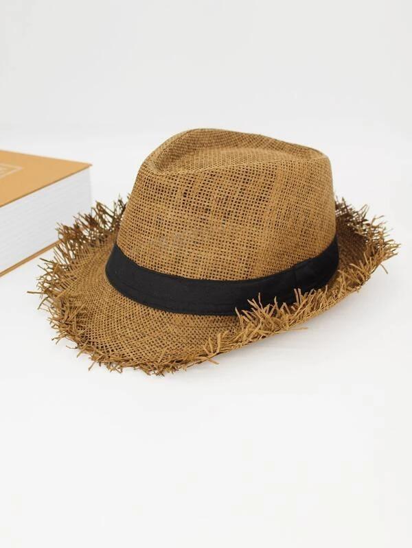 SHEIN Raw Hem Straw Hat