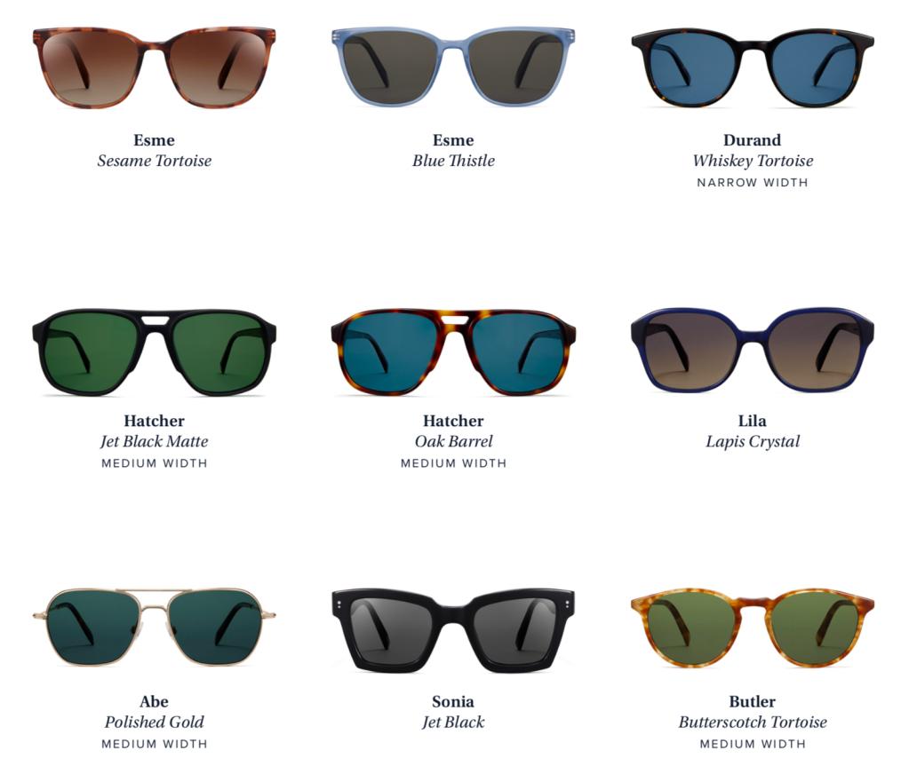 warby parker sun standards sunglasses
