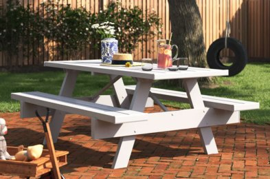 get your backyard summer-ready with these outdoor picnic tables
