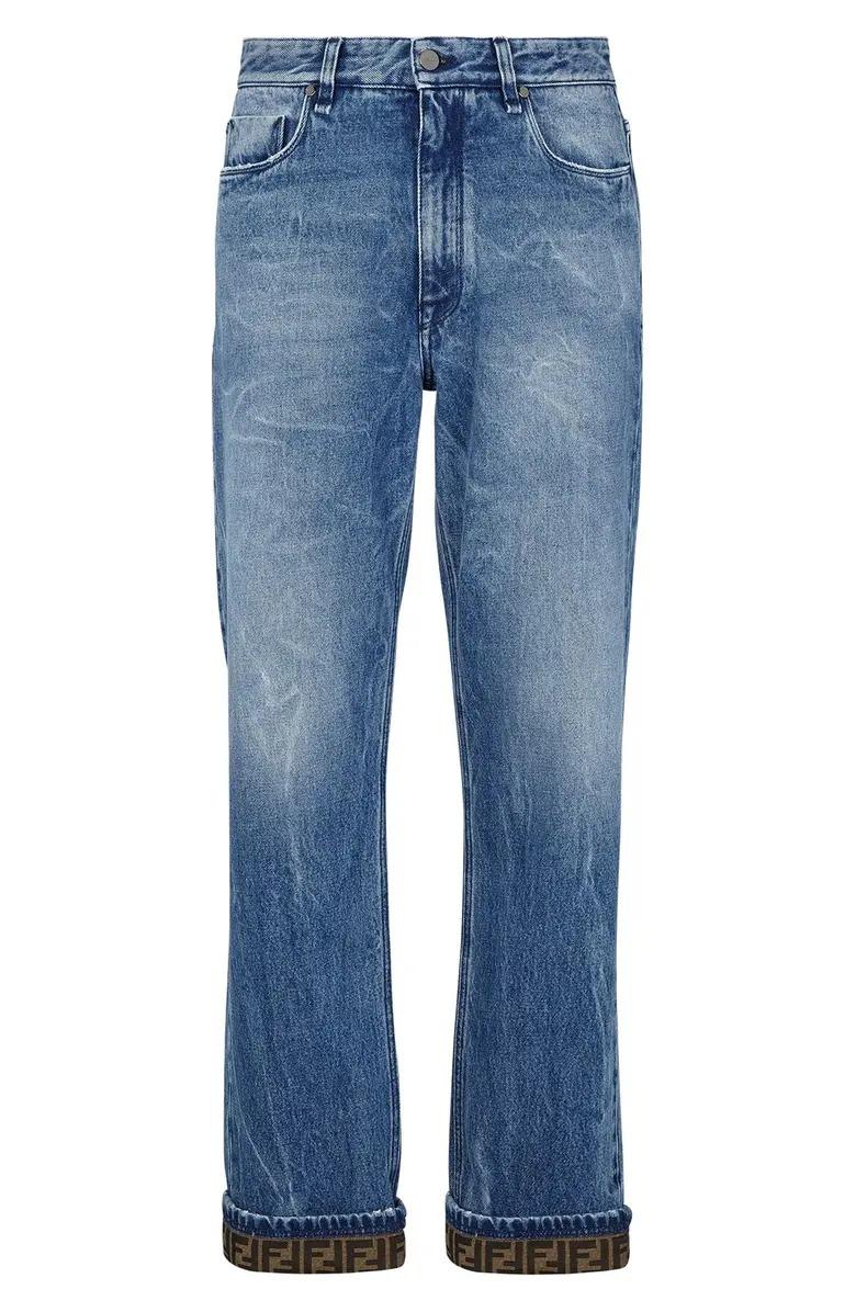 Fendi FF Turnup Straight Leg Jeans