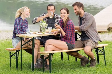 elevate your outdoor dining experience with these portable picnic tables
