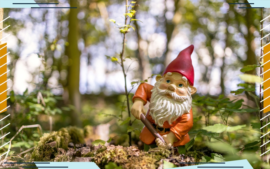 garden gnome in forrest