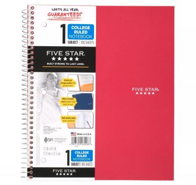 five star spiral notebook
