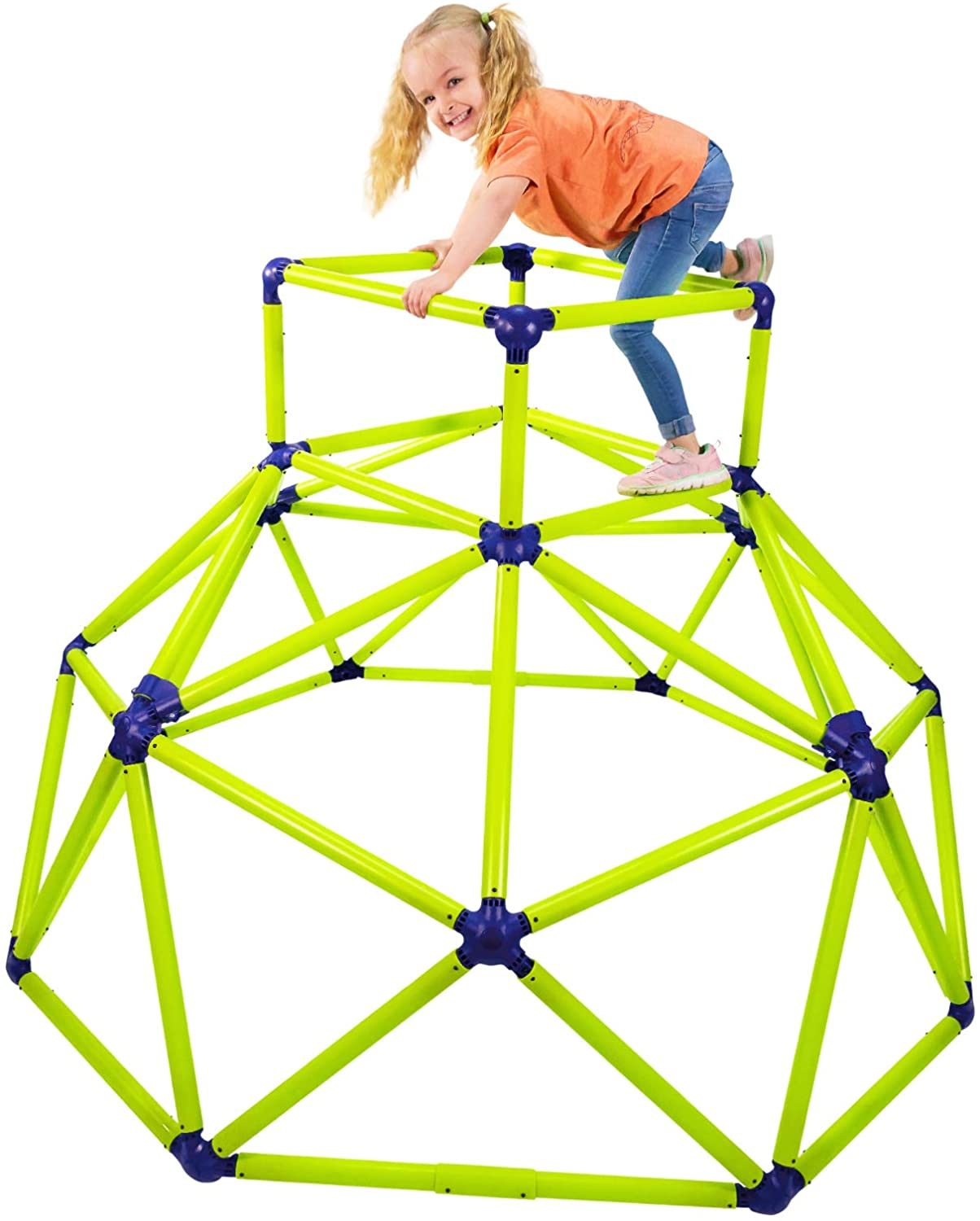Kid playing on a jungle gym