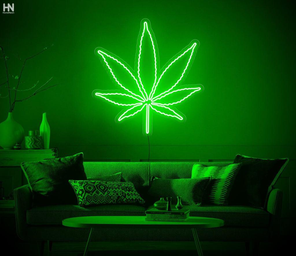 mariuana leaf neon sign
