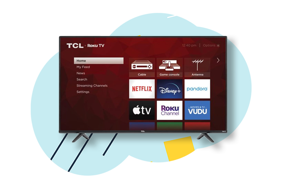 tcl 4-series on blue background