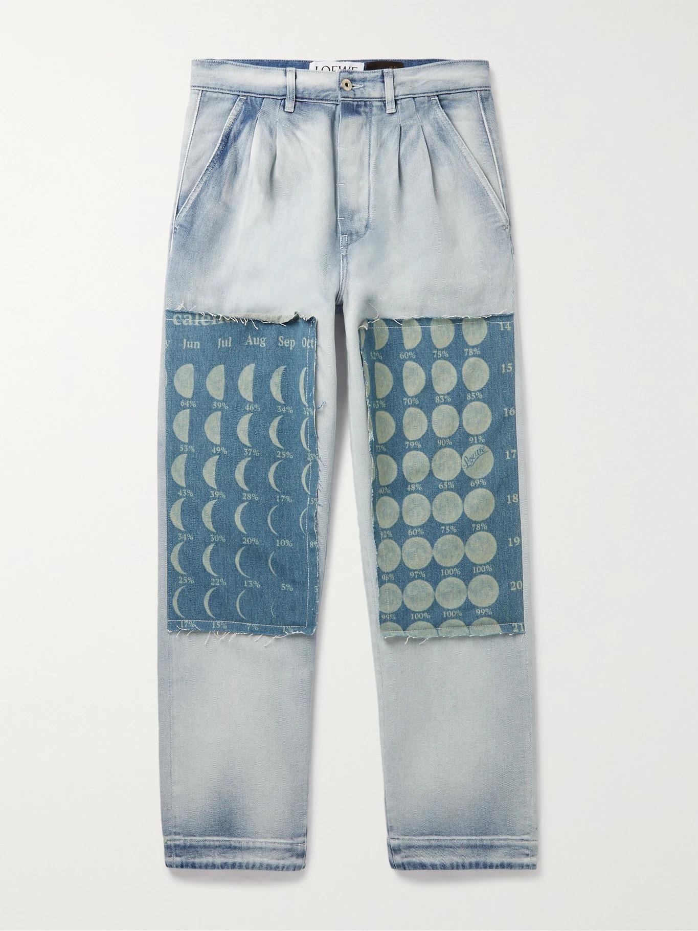 Loewe + Paula's Ibiza Pleated Patchwork Denim Jeans, designer jeans for men