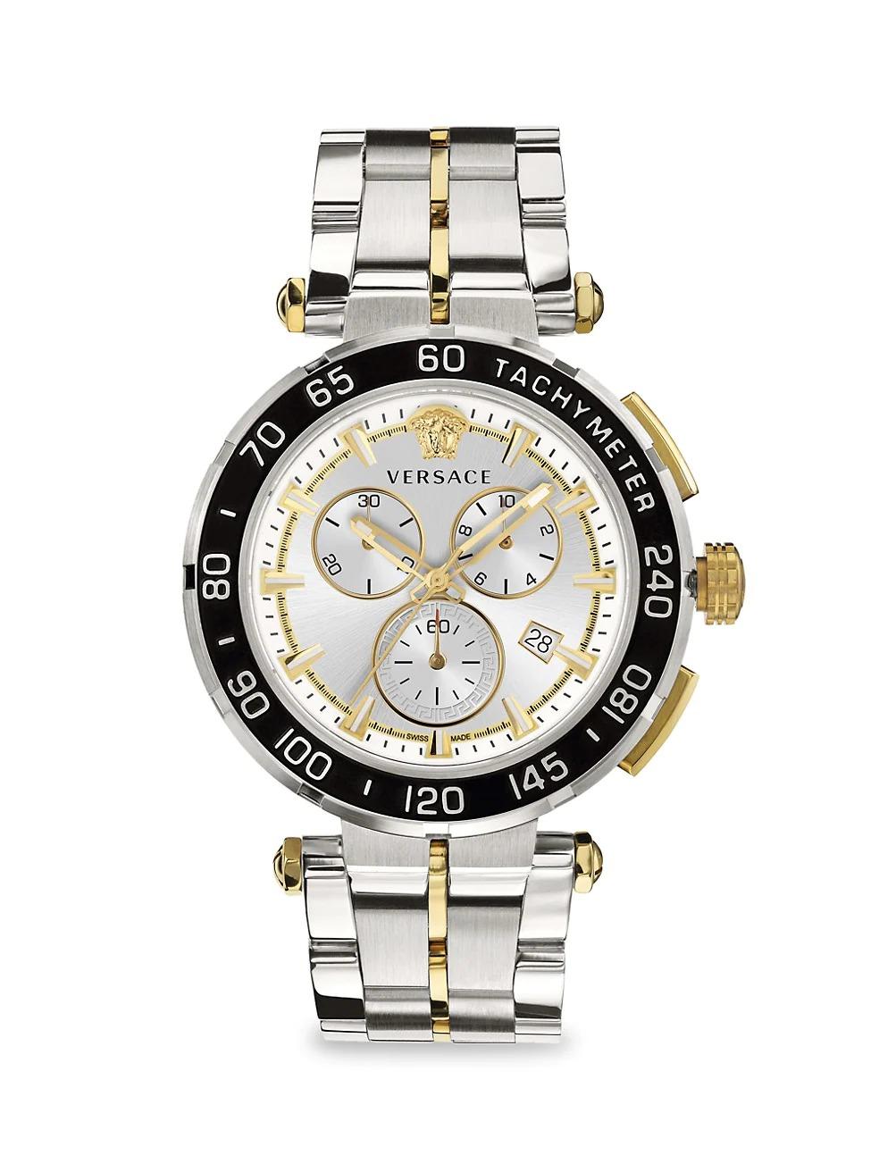 Versace Greca Stainless Steel Bracelet Chronograph Watch
