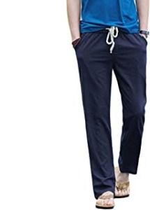 Hoerev Men Casual Beach Trousers Linen Jean Summer Pants,