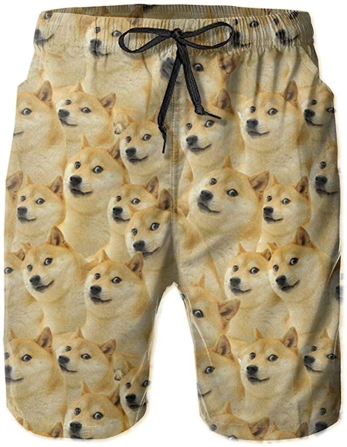 BBggyh Dogecoin Gold Coin Meme Swim Trunks
