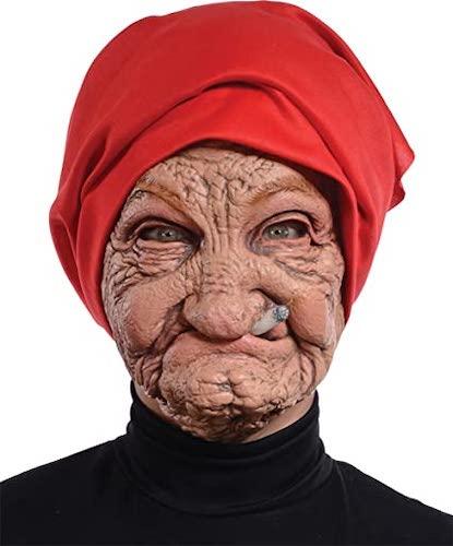 Mario Old Nana Latex Mask with Head Scarf