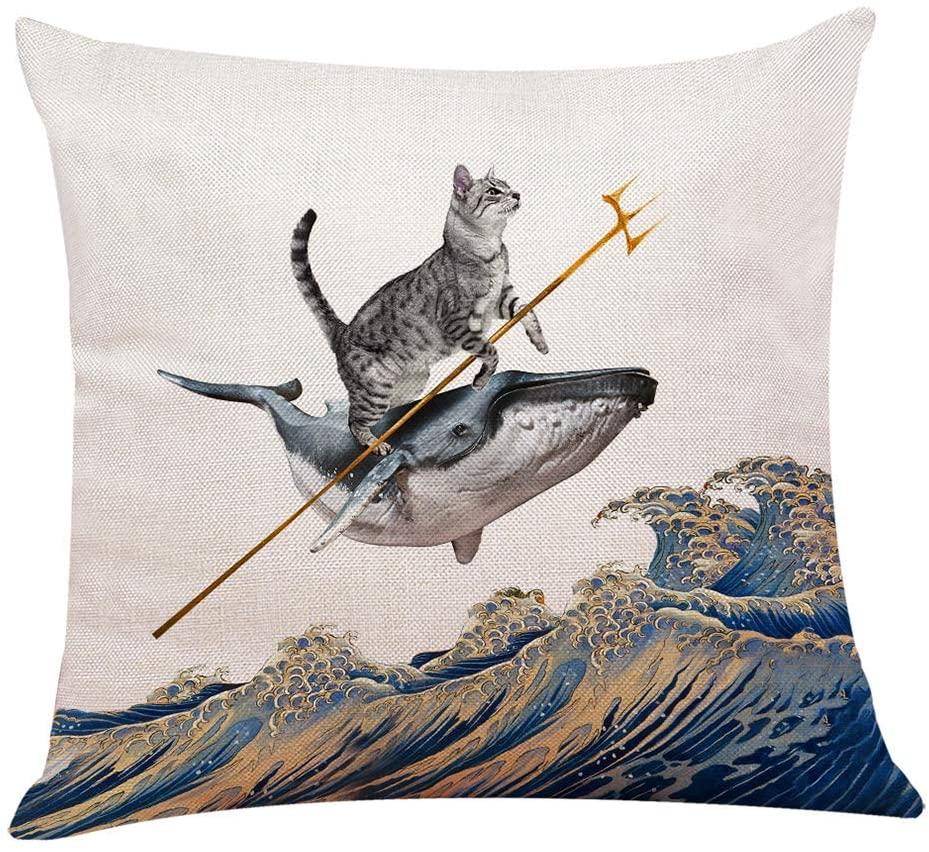 Aquacat Throw Pillow
