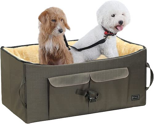 Petsfit Double-Sided Dog Car Seat with Storage Pocket