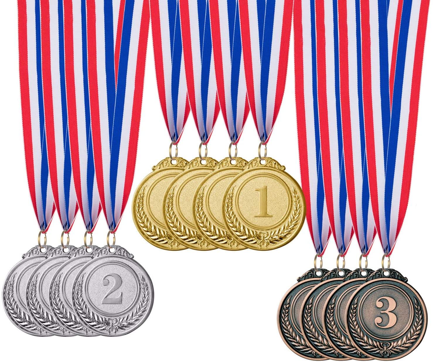 12 Pieces Gold Silver Bronze Award Medals