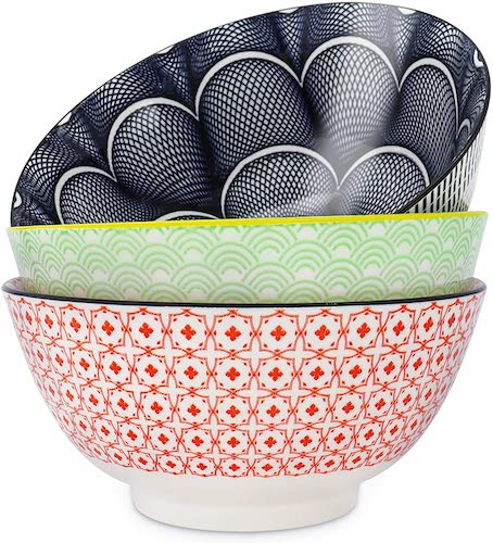 DeeCoo Large Printed Porcelain Salad Bowls