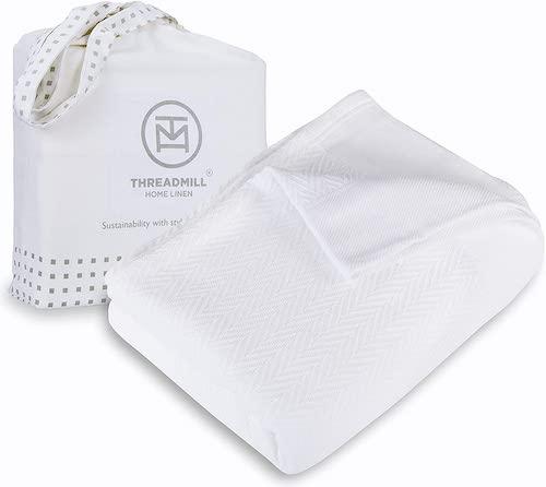 Threadmill Home Linen Herringbone Cotton Blanket