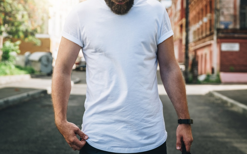 Summer day. Front view. Young bearded