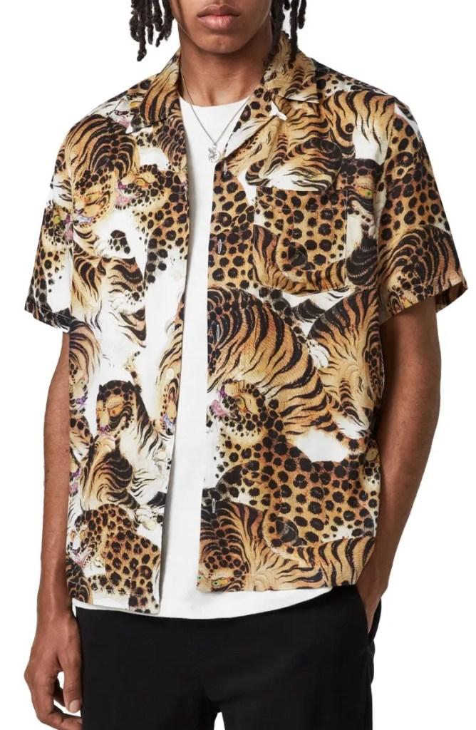 All Saints Pryde Short Sleeve Button-Up Camp Shirt