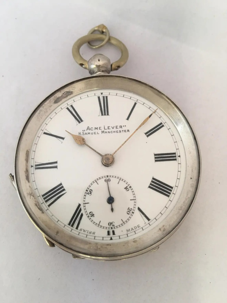 Antique-Silver-Key-Winding-Pocket-Watch-Signed-Acme-Lever-H.-Samuel-Manchester