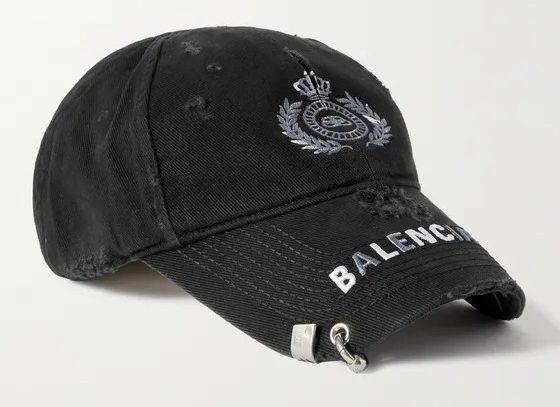 Balenciaga-Distressed-Logo-Embroidered-Cotton-Twill-Baseball-Cap