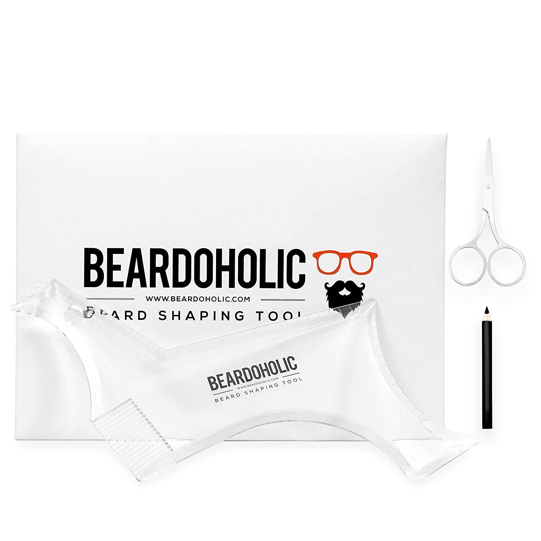 Beardoholic Beard Shaping Tool with lineup pencil and trimming scissors