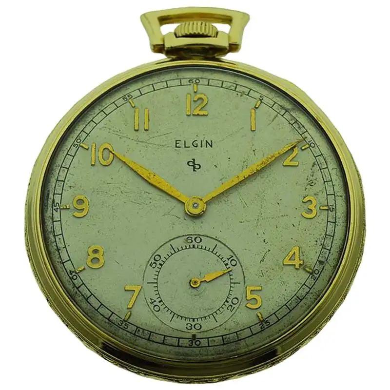 Elgin-Yellow-Gold-Filled-Art-Deco-Pocket-Watch-with-Original-Dial-circa-1940s