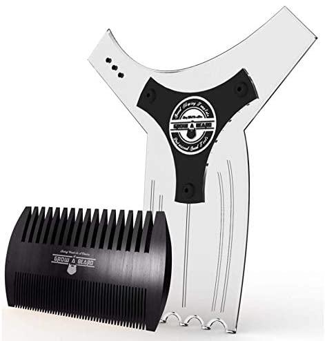 Grow Alpha Beard Beard Shaping Tool with beard comb; best beard shaping tools