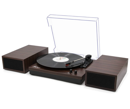 LP&No.1 Retro Bluetooth Record Player with Stereo External Speakers