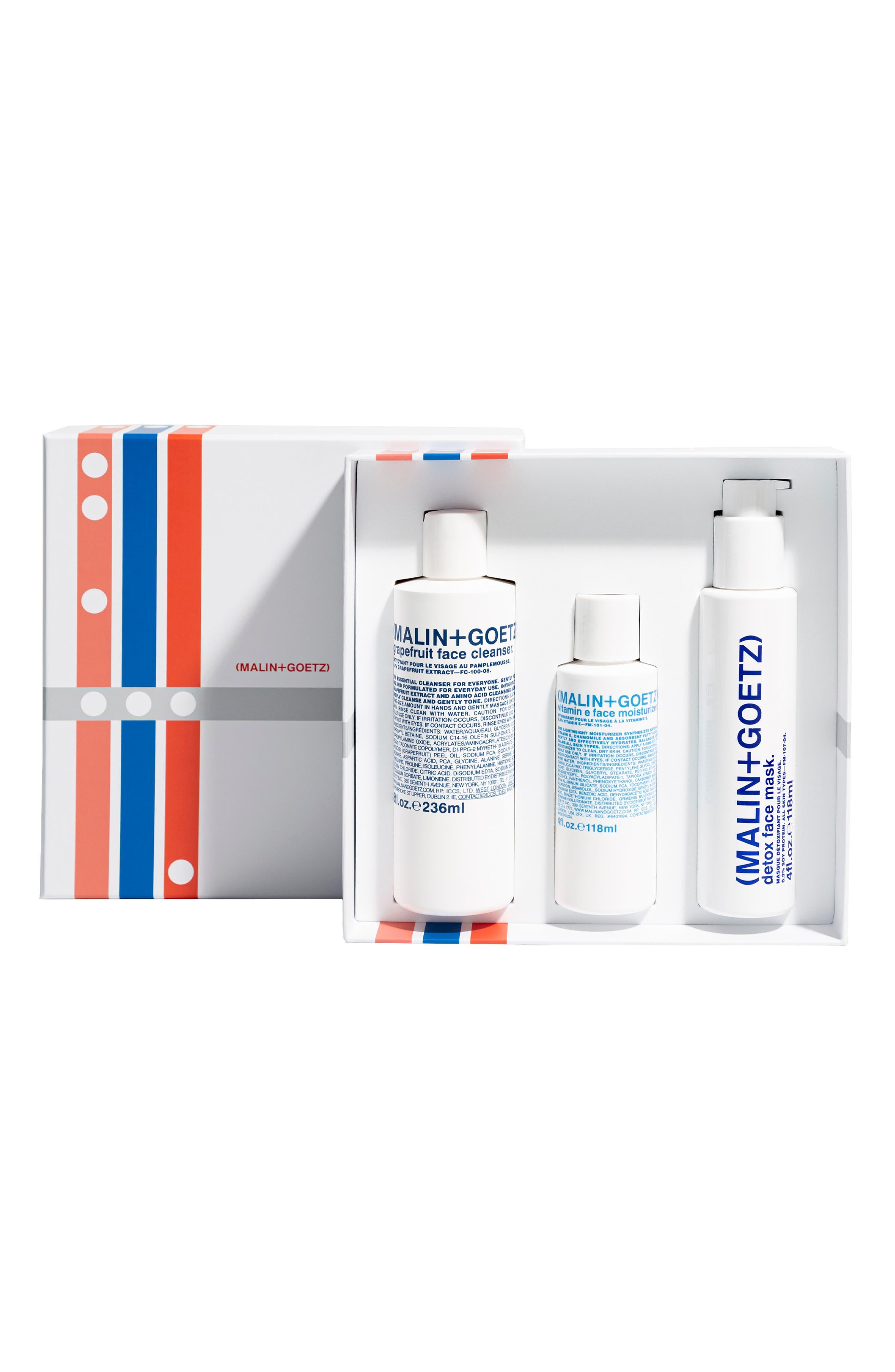 Malin+Goetz Saving Face Skincare Set; skincare sets for men