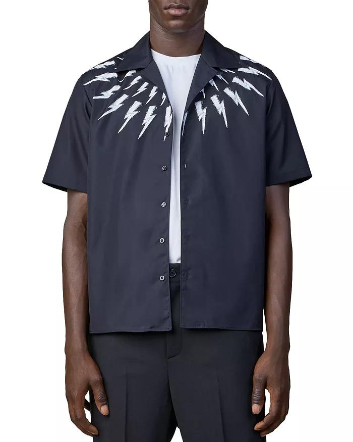Neil Barrett Thunderbolt Print Relaxed Fit Camp Shirt