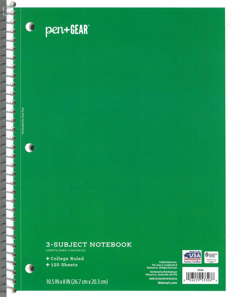 Pen + Gear 3-Subject Spiral Notebook