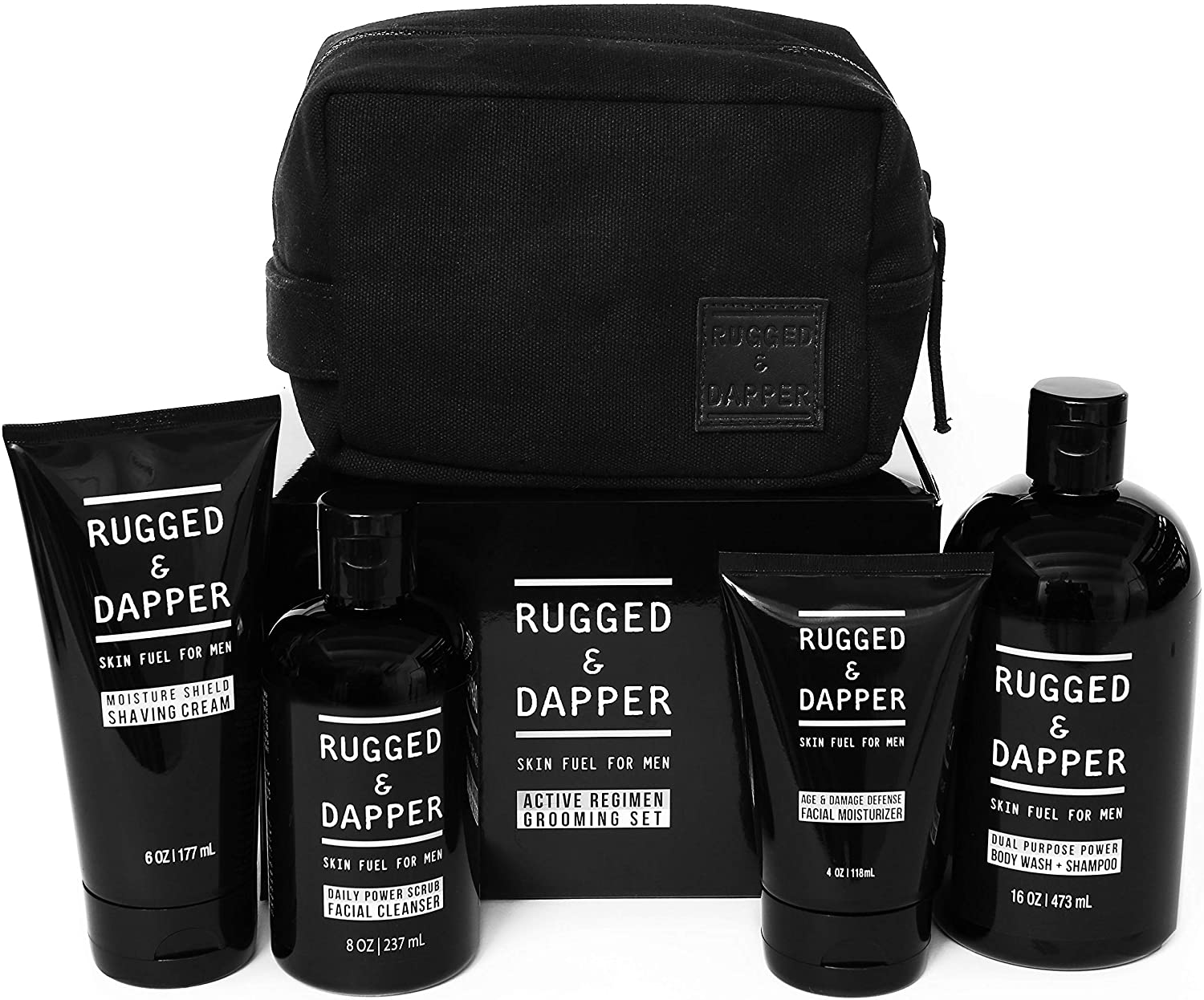 Rugged & Dapper Active Regimen Grooming and Skincare Set for Men; best skincare sets for men / skincare gift sets