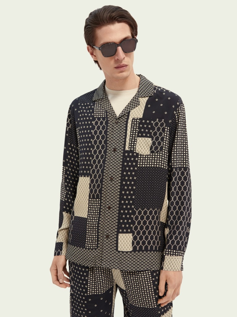 Scotch and soda printed relaxed fit shirt camp collar shirt