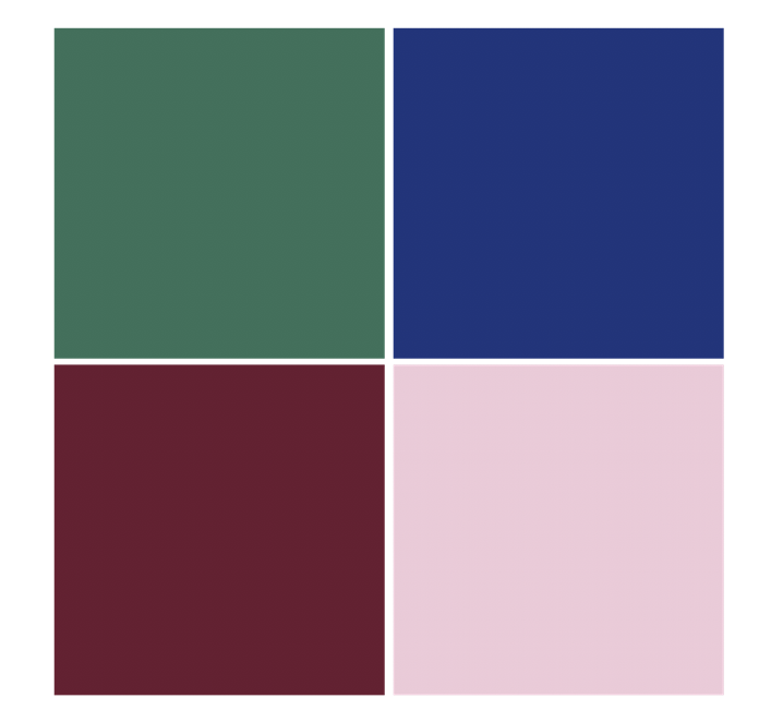 green, blue, red, pink