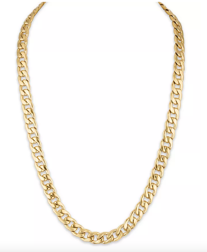 """Cuban Link (11.75mm) 22"""" Chain in Yellow IP plated Stainless Steel"""