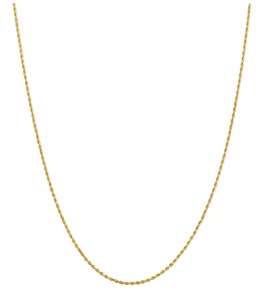 Diamond Cut Rope Chain Necklace in 14K Yellow Gold