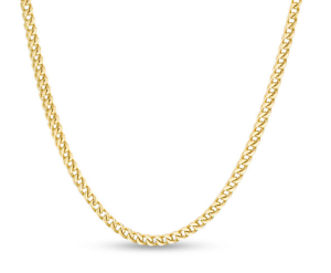 """Men's 3.2mm Franco Snake Chain Necklace in Stainless Steel with Yellow Ion-Plate - 24"""""""