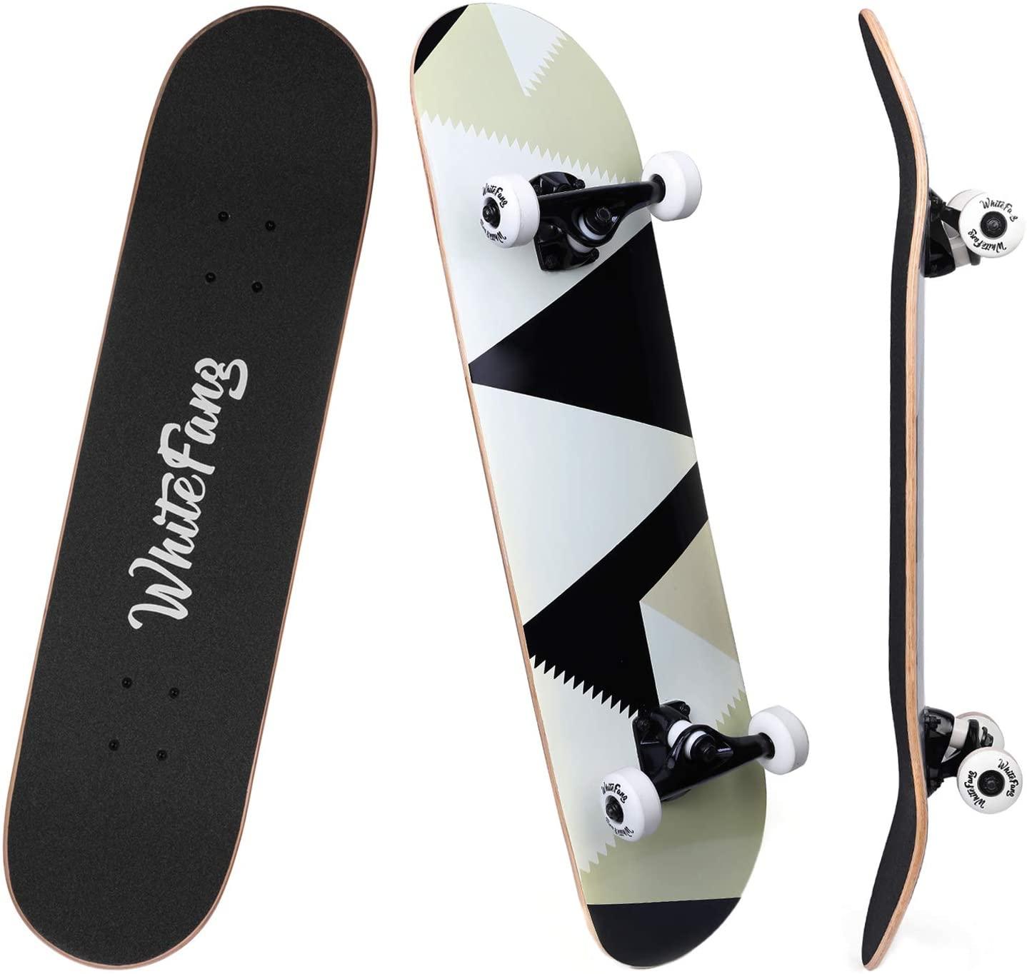 WhiteFang Skateboard for Beginners Complete Skateboard; best skateboard for beginners