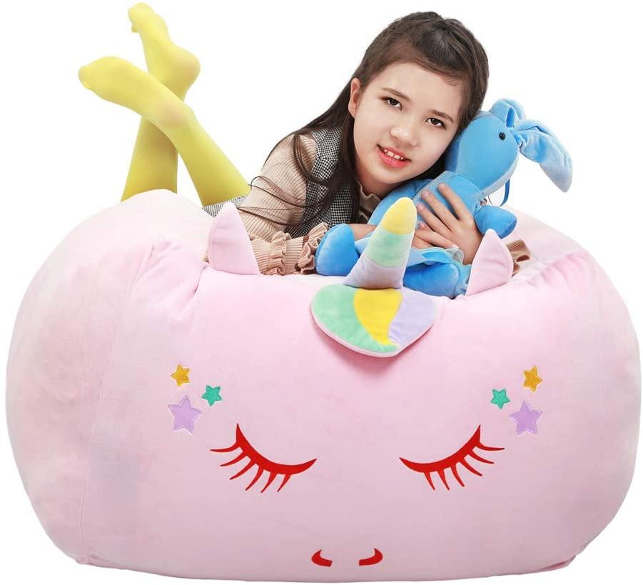Yoweenton Unicorn Stuffed Animal Toy Storage Kids Bean Bag Chair