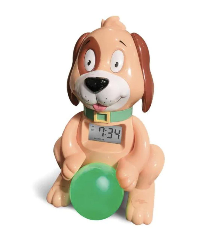 Kids alarm clock shaped like a dog