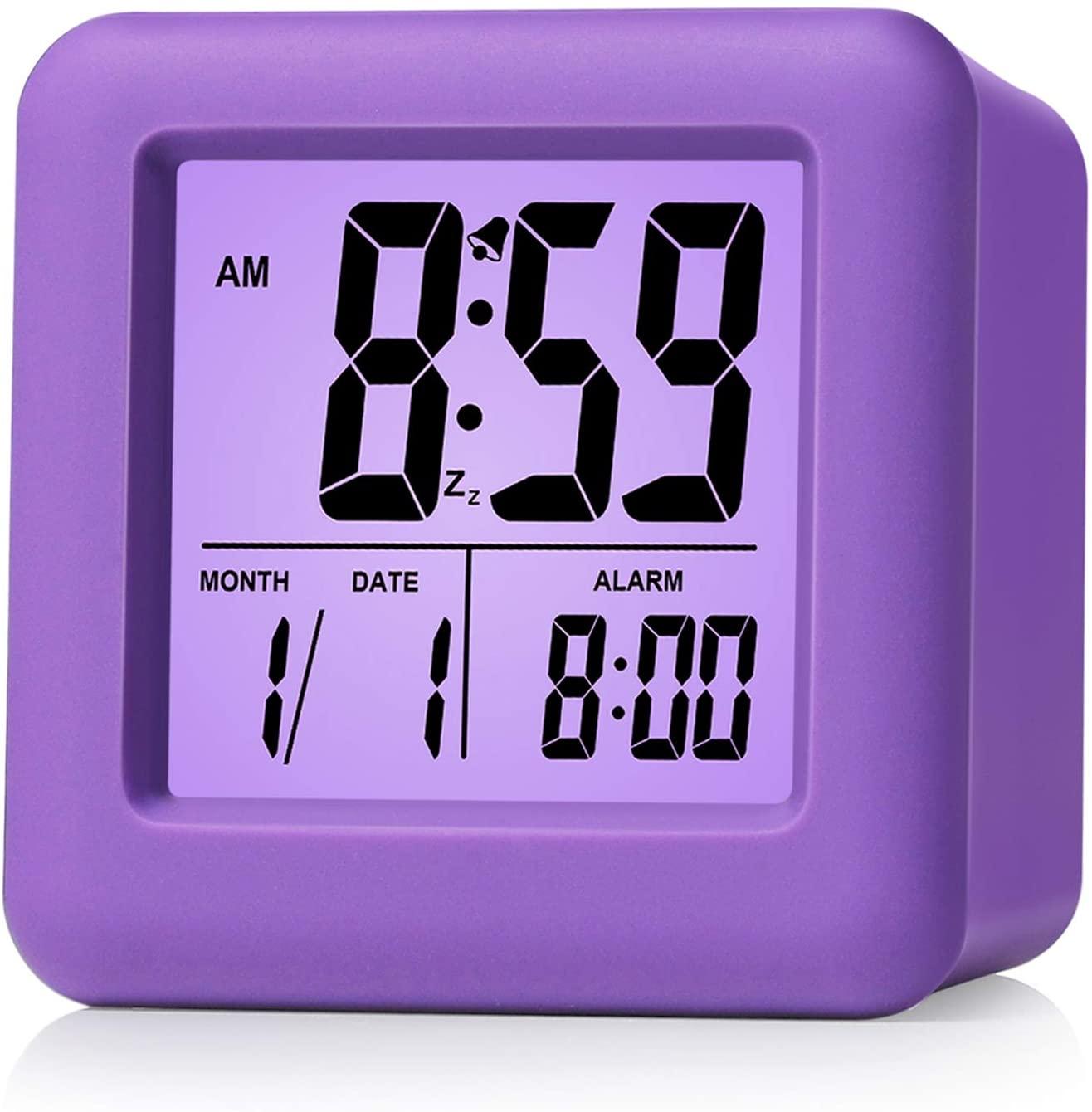 purple travel alarm clock