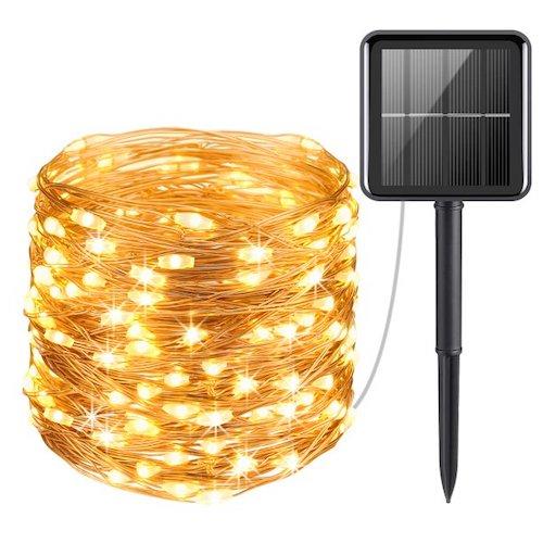 Qishi 100 LED Solar powered Fairy Lights (White Warm)hristmas String Lights