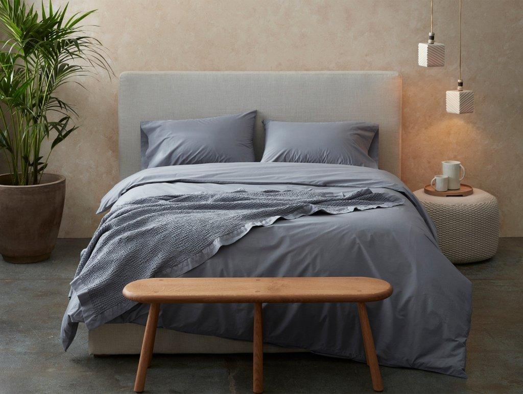 coyuchi organic cotton comforter with blue duvet cover