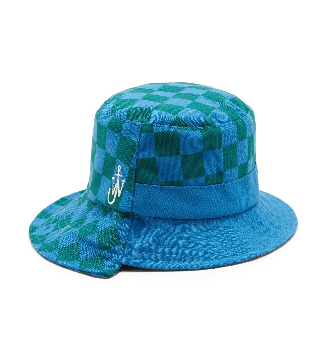 JW Anderson Asymmetric Checked Bucket Hat