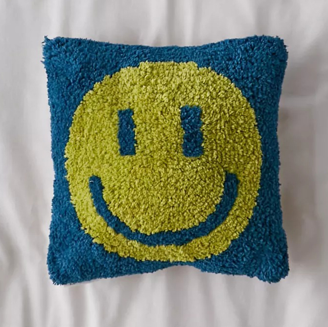 Happy Face Mini Throw Pillow