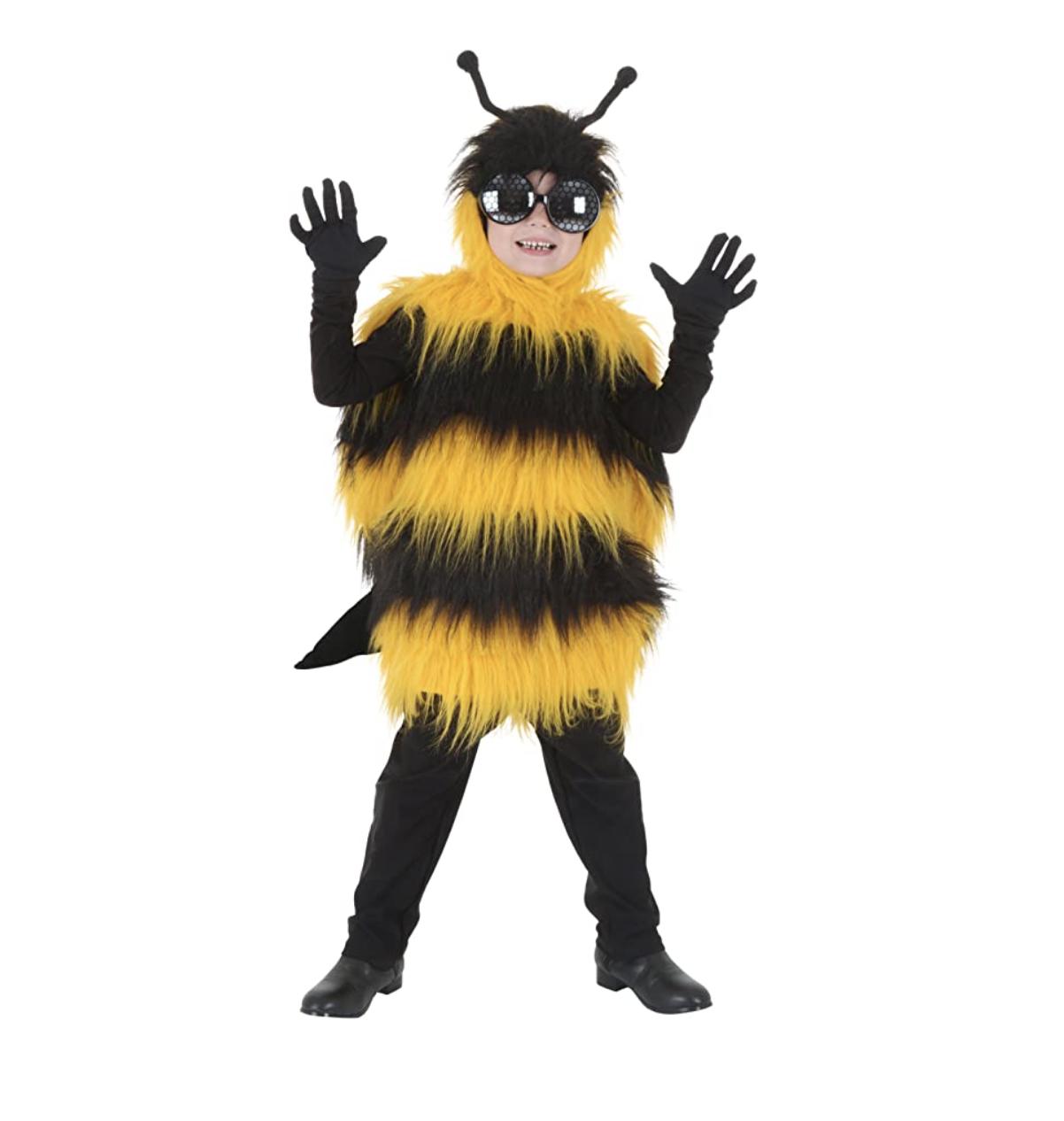 Kid in a bumblebee costume