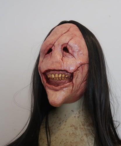 Bourne Effective Grin Demon Latex Half-Mask, scary halloween masks