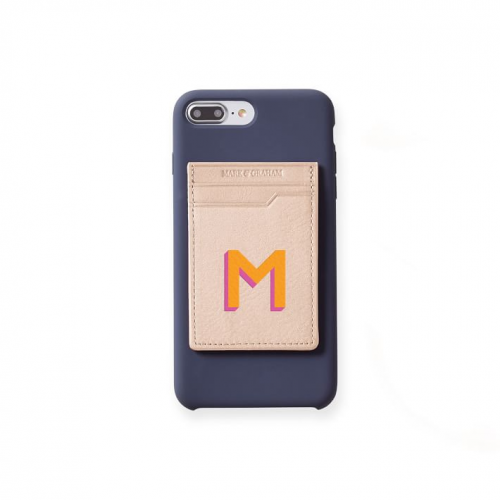 mongrammed leather phone sticker card case