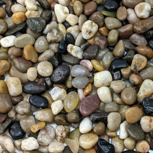 naturally decorative polished mixed pebbles, lawn alternatives